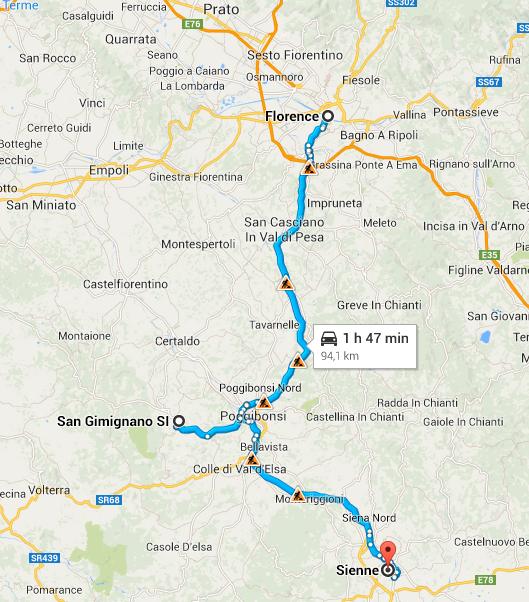 Trajet en Toscane : San Gimignano et Sienne