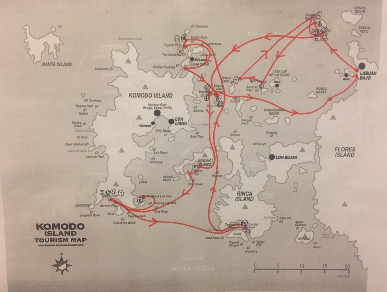 carte de toutes les plongées à komodo