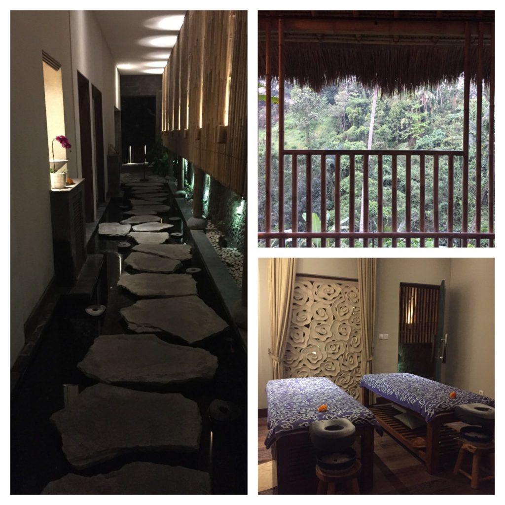 intérieur du spa de l'hôtel avec vue sur la jungle